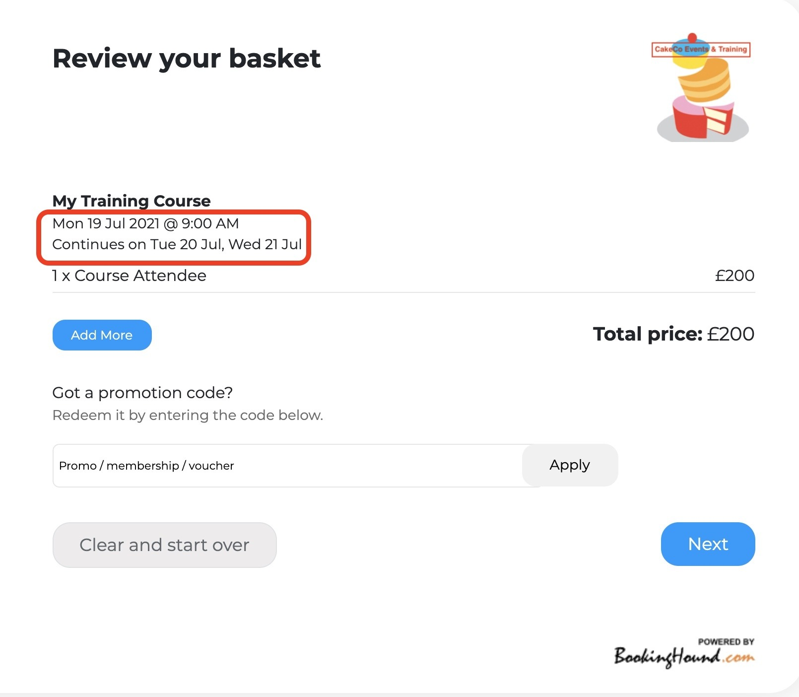 Review your basket Screen