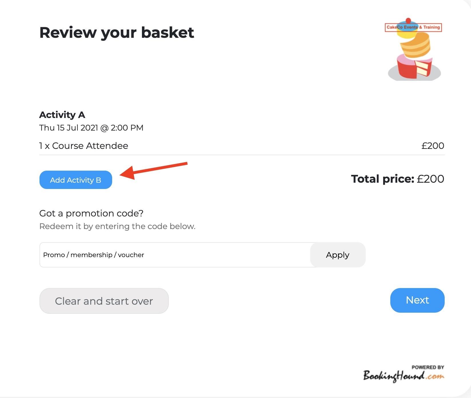 Review Your Basket Activities Screen