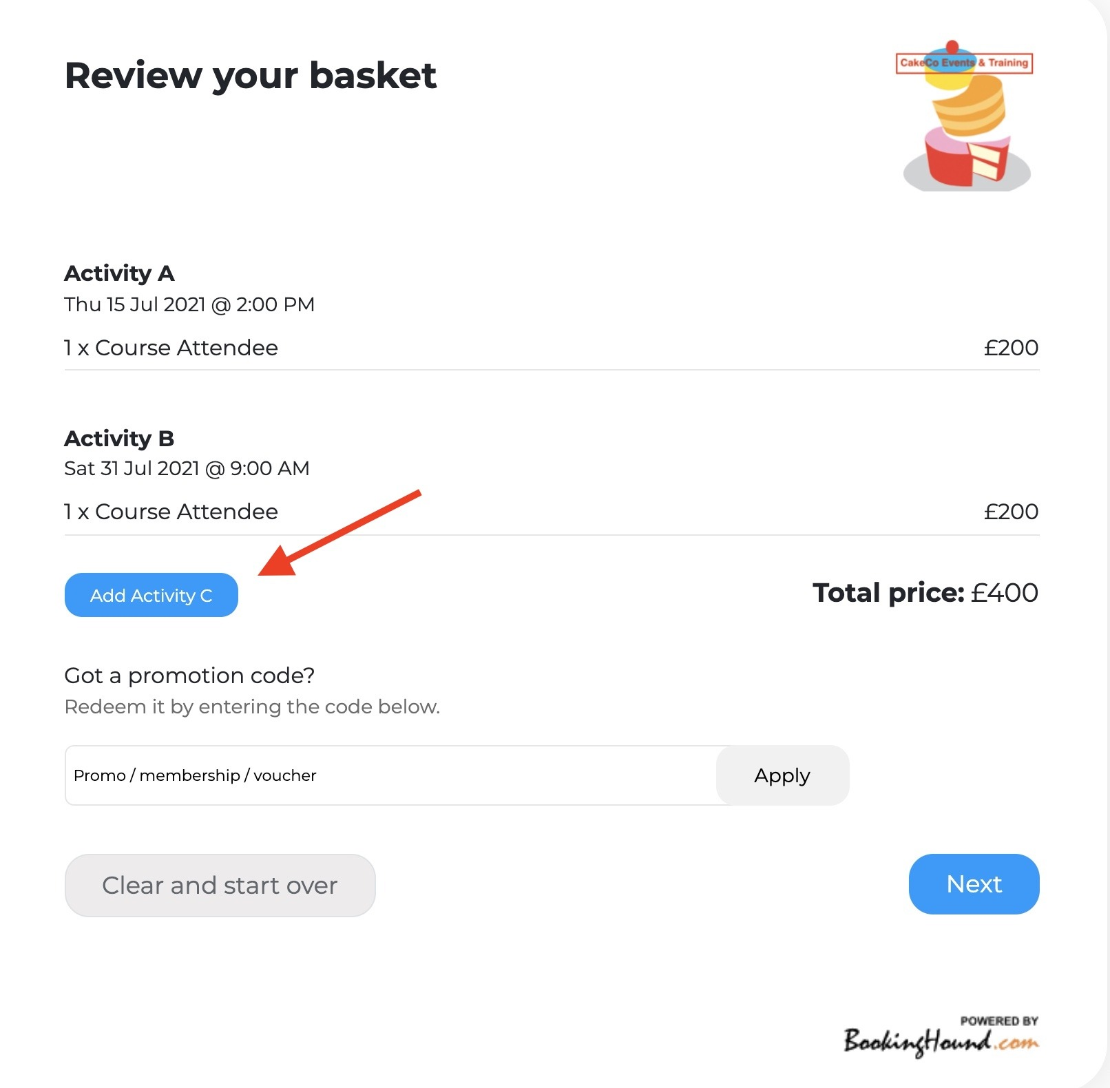 Review Your Basket Additional Activities Screen